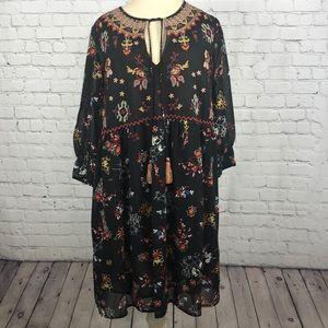 Philosophy black floral BoHo dress